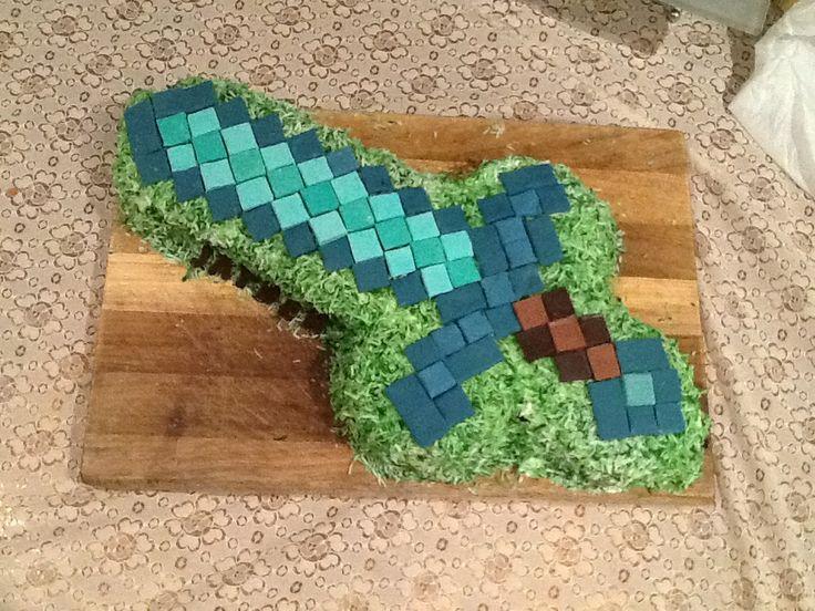 Minecraft Sword Cake Images : Minecraft Diamond Sword cake. logan! Pinterest