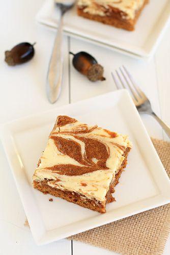Pumpkin cake with cream cheese swirl