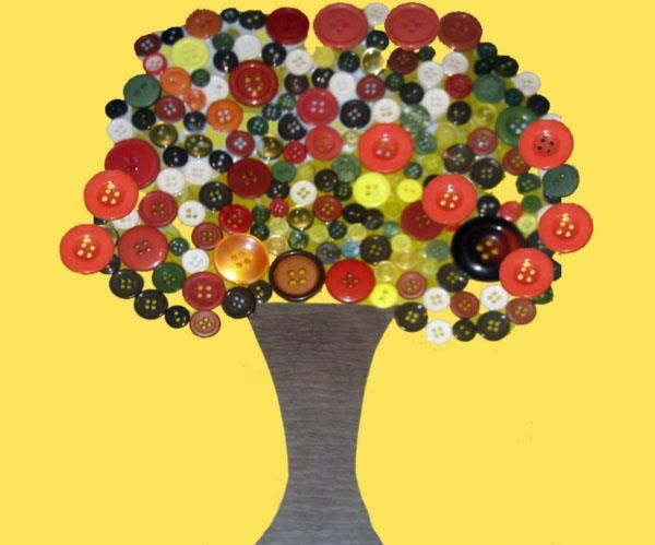 Button fall tree preschool art project headstart 4 year for Fall arts and crafts for preschoolers