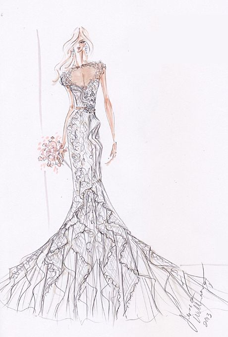 Wedding dress sketch for Savannah Guthrie | Alvina Valenta | brides