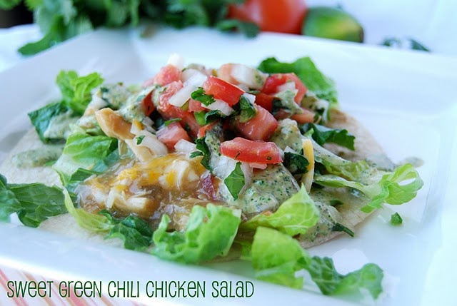 Sweet green chili chicken salad | healthy foods i love | Pinterest