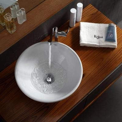 KRAUS Vessel Sink in White-KCV-141 at The Home Depot