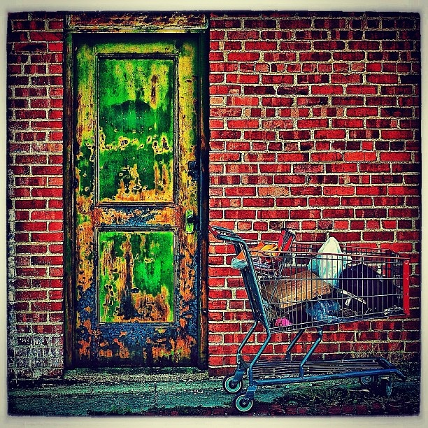 Who knew a beat up door and a shopping cart could be art!