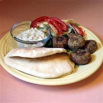 Seans Falafel and Cucumber Sauce food-and-drink