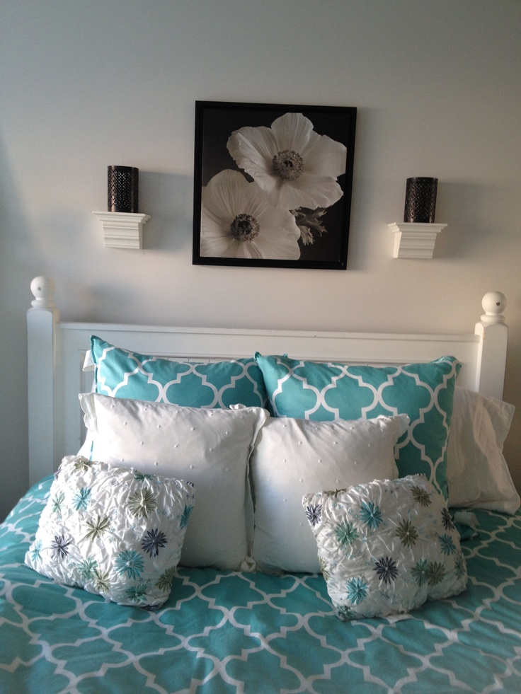 Black white and teal in my room bedroom design for Black and teal bedroom designs