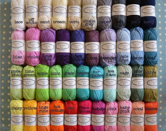 Cotton Yarn, Choose any 20 Colours You Like, Ready to ship by Crochet ...
