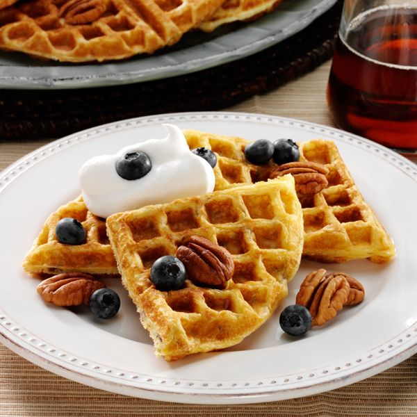 Sour Cream Pecan Waffles #thinkfisher #quickandeasy http://www ...