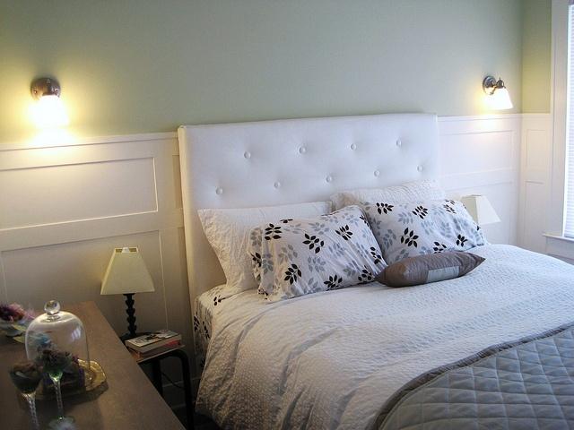 Wainscoting headboard bedroom sconces master bedroom ideas pin Headboard ideas for master bedroom
