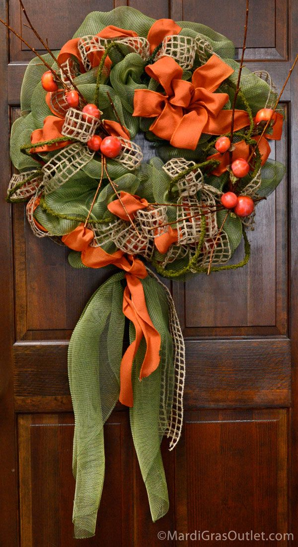 Fall Wreath with Persimmons