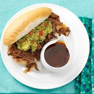 Slow Cooker Machaca Beef Dip Sandwiches - Source http://pinterest.com ...