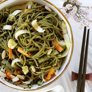 Soba Salad with Honey Ginger Soy Sauce