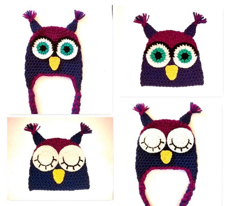 Owl Hat / Sleeping Owl, 7 sizes newborn