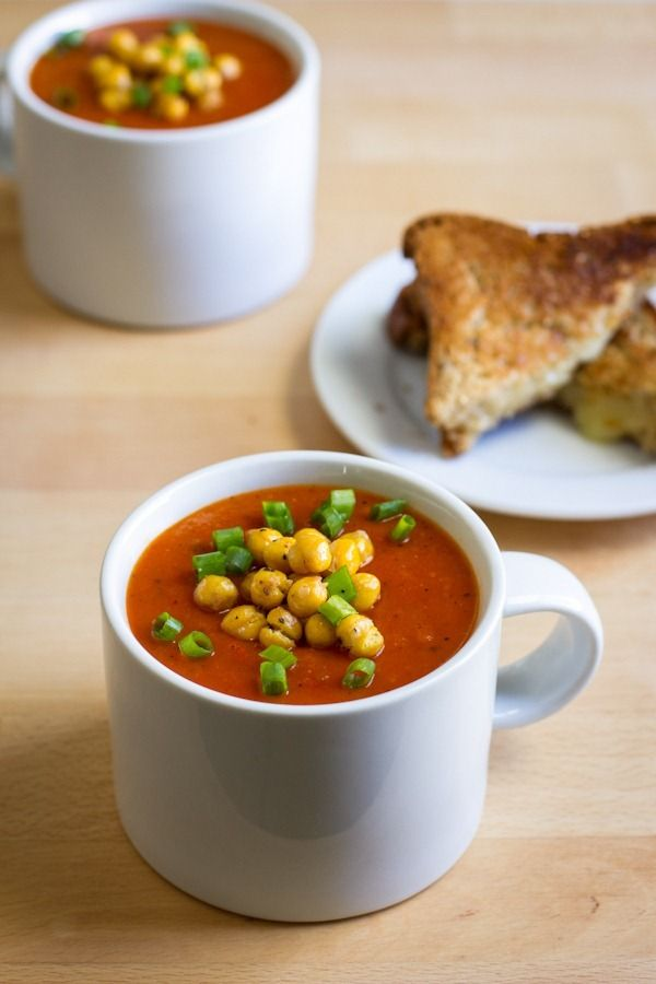 roasted red pepper soup with chickpeas | Herbivore | Pinterest