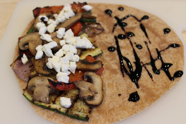 Grilled Vegetable Quesadilla with balsamic and feta