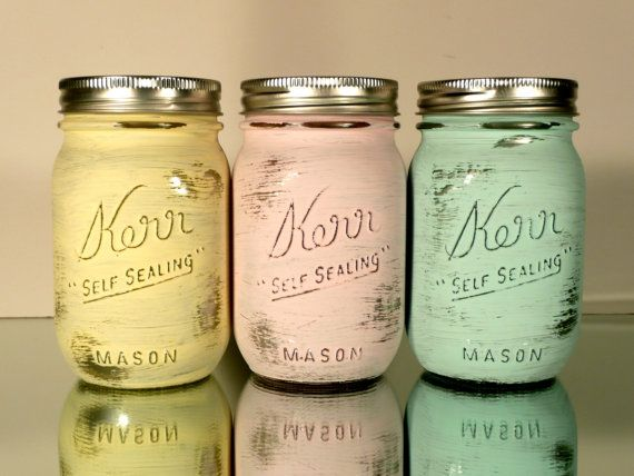 Home Dorm or Office Decor Pastel Painted Mason Jars by BeachBlues