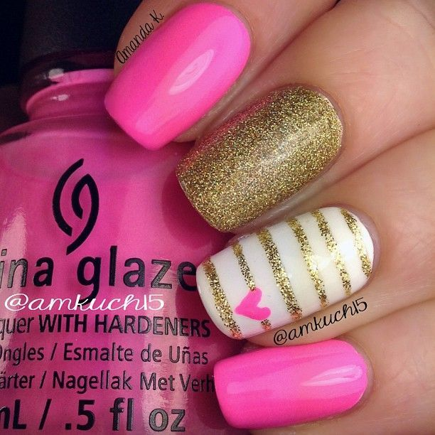 Hot pink and gold nails