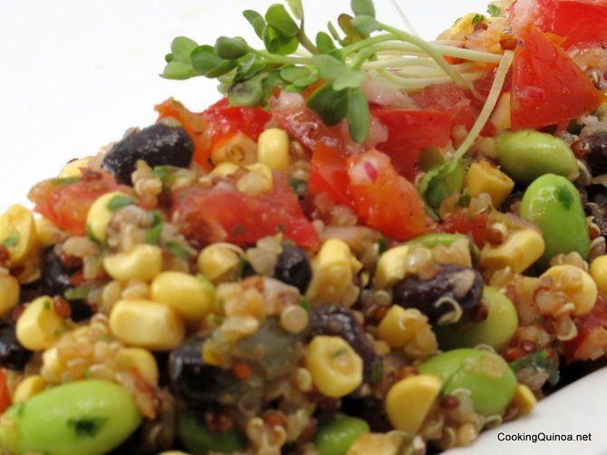 Black Bean, Corn and Edamame Vegan Quinoa Salad | Recipe