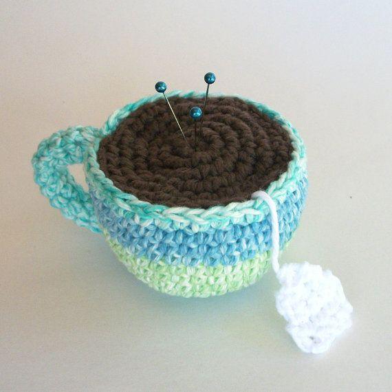 Stripe Tea Cup - Crochet Pincushion
