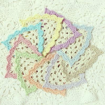 Crochet Triangle : ByHaafner, crochet, garland, bunting, coasters, crocheted triangles ...