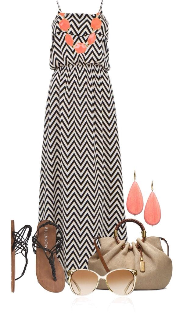 Women's fashion. Chevron maxi dress black and white with coral accent  color