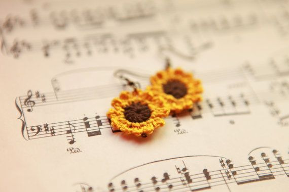 Sunflower Crochet Earrings