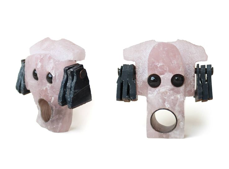 "Elvira Golombosi - rose quartz, obsidian, falcon's eye 7x7cm - rings 2014 - ""GUARDIANS"" *My recent work -- Series of rings-objects carved in stone"