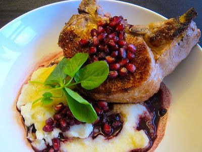 Pork Chop with Pomegranate Red Wine Pan Sauce