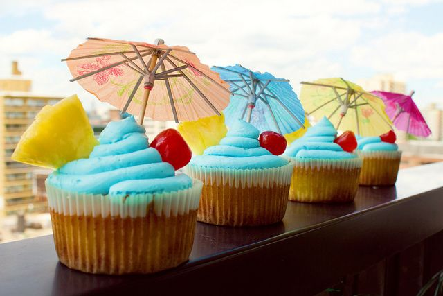 Blue Hawaiian Cupcakes by Lauren Souch. Made with Coconut Rum and Blue ...