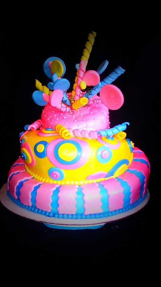 Yellow Pink and Blue Birthday Cake  Cakes  Pinterest