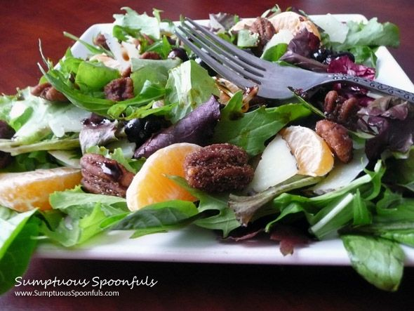 Blueberry Tangerine Manchego Salad with Butter Rum Spiced Pecans & Hot ...