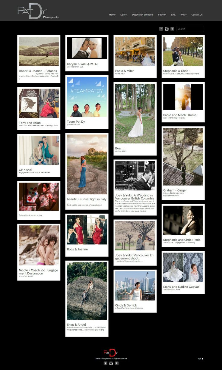 Custom WordPress theme built from scratch for a local wedding photographer, Pat Dy.