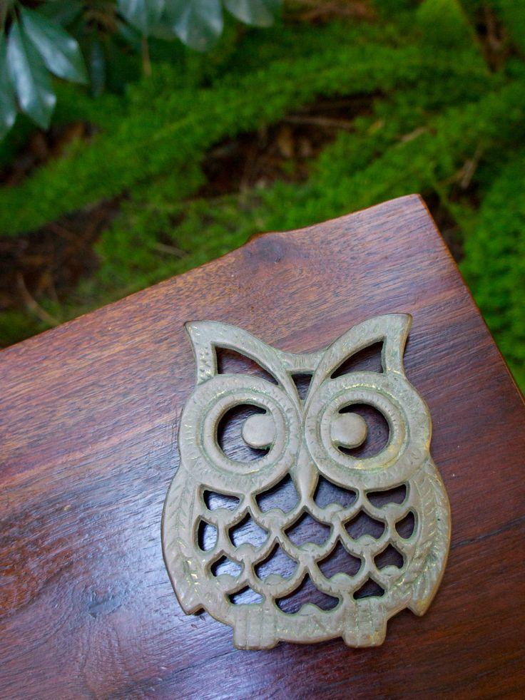 brass owl trivet vintage kitchen decor mid century 1950s pot rest f