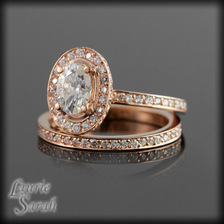 Rose Gold Engagement Ring Set Oval Moissanite with Diamond Halo and…