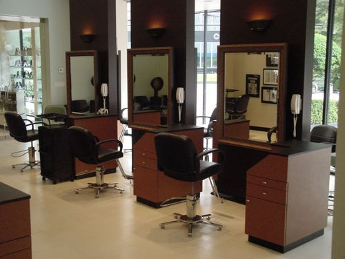 Custom made tan color hair table beauty salon styling for Beauty parlour dressing table images