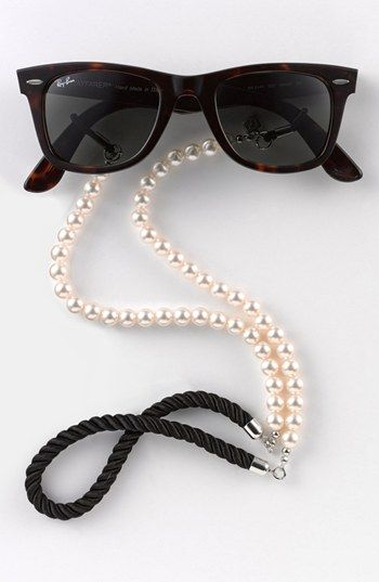pearl sunglass strap ~ we love our pearls that may be passed through generations or given as a wedding present from our groom. So a pearl sunglass strap just sounds perfect!  giggles