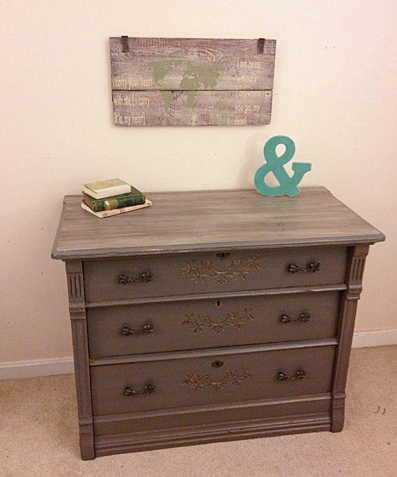 antique eastlake dresser in rustic driftwood gray painted