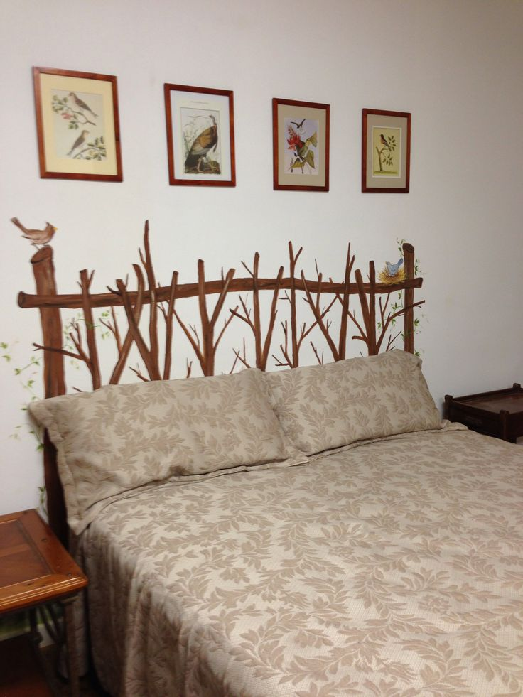 Twig headboard painted on the wall house decor ideas for Painted on headboard