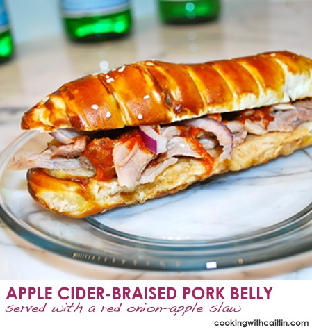 Braised PORK BELLY. Apple Cider-Braised Pork Belly served on a Pretzel ...
