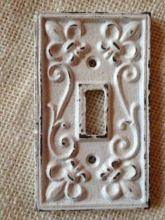 Fleur de lis shabby chic white switch cover plate
