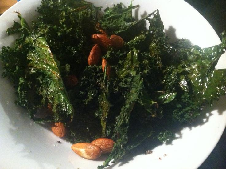 Kale chips with almonds, sea salt, lemon. Wash and tear kale of of ...