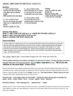 2013 Primary Music Outline, song of the month, ideas to teach it ...