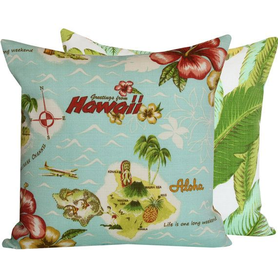 Hawaiian Aloha Pillow Cover 18x18 Outdoor Furniture Cushion - Two Spl…