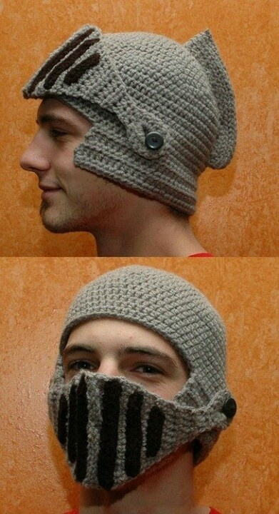 Knight Hat Knitting Pattern : Awesome knit knights helmet! Knitwit Pinterest