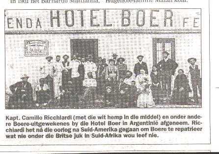 Hotel boer in argentinië toe die anglo boereoorlog verby was was