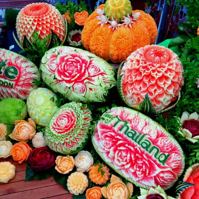 Thai fruit carvings unique creative pinterest