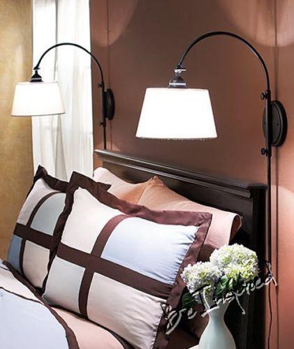 adjustable vintage light shade desk mount sconce bedroom read crafting