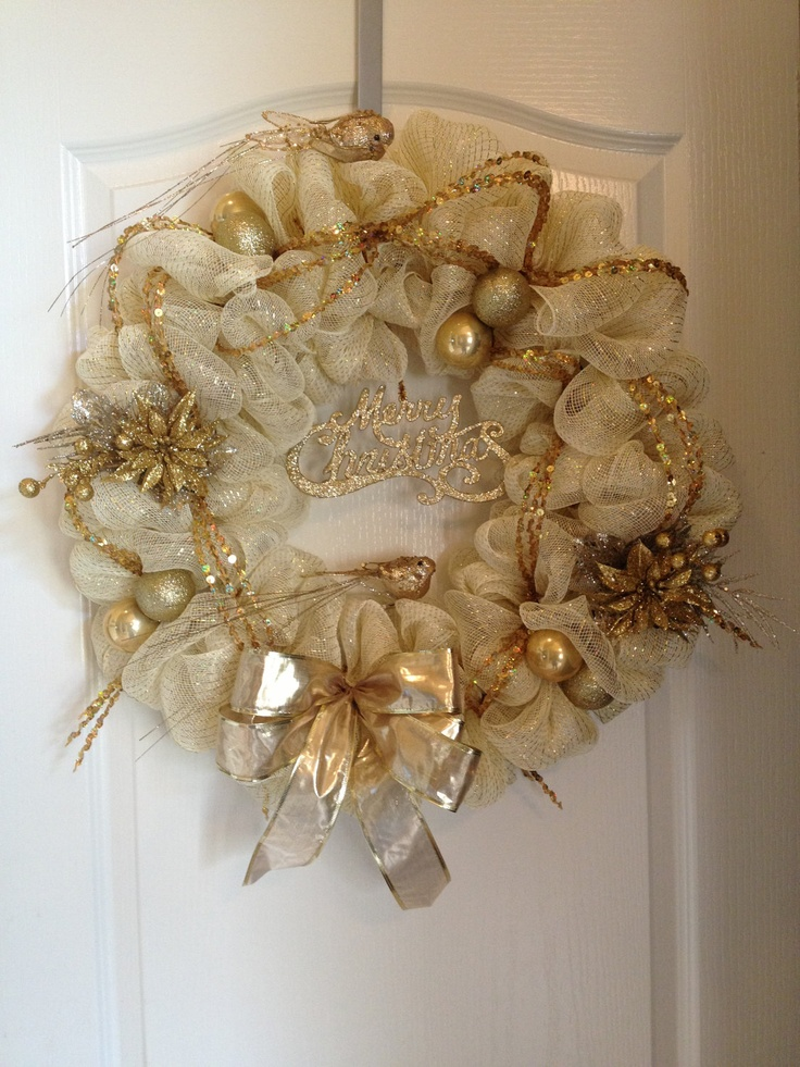 Christmas Mesh Wreath gold  door decor by aydeebo on Etsy, $52.00
