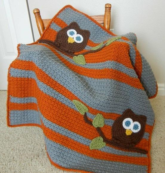 Crochet Owl Blanket : owl baby blanket Crochet & Knit Pinterest
