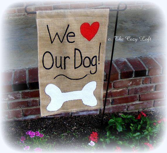 We Love Our Dog (Cat) Burlap Garden Flag Rustic Outdoor Decor