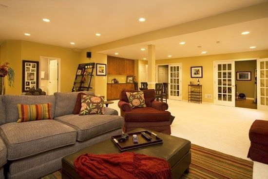 basement - pot lights and french doors